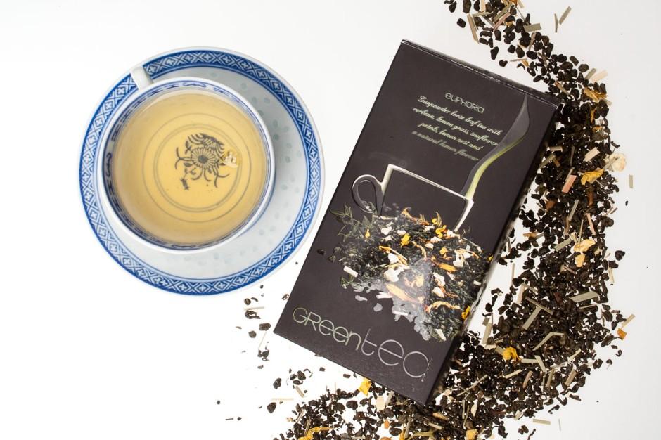 Aurile EUPHORIA GREEN TEA Herbata zielona Gunpowder z dodatkiem werbeny, trawy cytrynowej, skórki z cytryny oraz płatków słonecznika i naturalnym aromatem cytrynowym