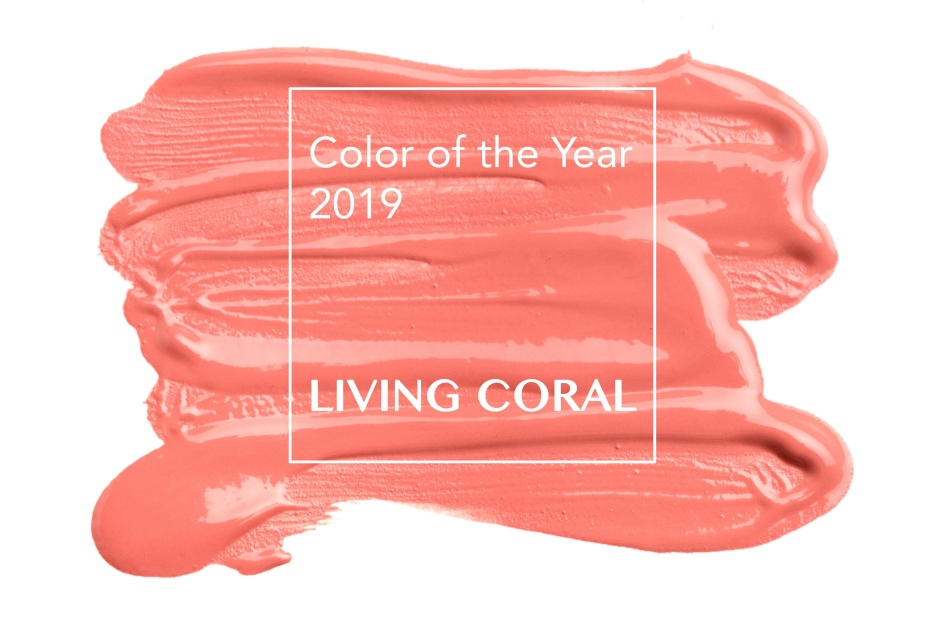 brush and paint texture on paper living coral. Color of the year 2019.